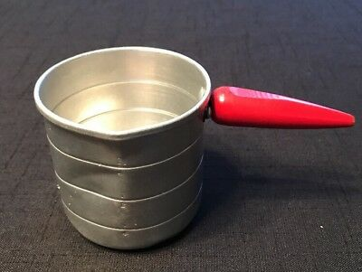 Vintage Aluminum 1 Cup Measuring Cup W/Red Wood Handle