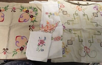 VINTAGE HAND EMBROIDERED Tray Cloth Bundle CRINOLINE LADIES Linen Cotton Cushion