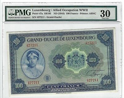 P-47a 1944 100 Francs, Luxembourg/ Allied Occupation WWII, PMG 30, Very Nice!