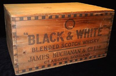 Vintage Black & White Scottish Whiskey Wooden Crate w/ Lid James Buchanan PA