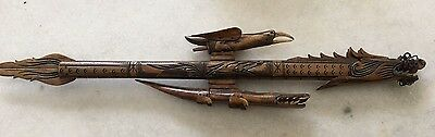 Balinese Hand Made Carved Dart Gun Blowgun with Dragon & Eagle -