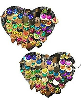 Multi-Color Party Sequin Heart Nipple Pasties by Pastease