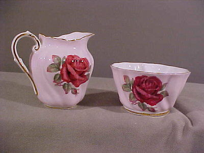 Beautiful Quality Paragon Deep Red Rose Gold Trim Small Sugar Creamer