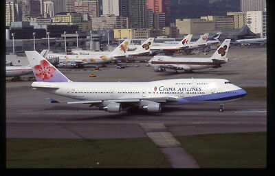P China Airlines Boeing 747-409 B-164 35mm unknown film Aircraft Slide
