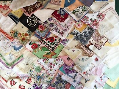 Lot of 93 Vintage HANKIES Floral, Holiday, Embroidered, Signed, Monogram, & More