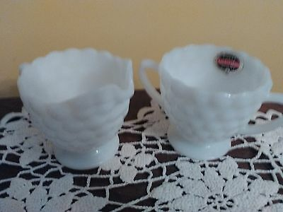 Anchor Hocking White  Milk Glass Creamer And Sugar Bowl Usa Made Bubble Pattern