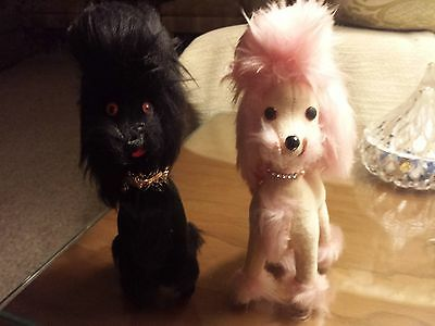 Vintage 50s Jerry Elsner Black & Pink Poodle Dogs Sawdust Filled Made in Japan