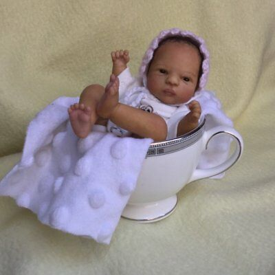 "OOAK Polymer clay newborn baby MINI girl sculpt art doll 6"" 3 DAY NR!!"