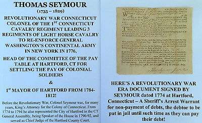 REVOLUTIONARY WAR COLONEL 1st CONNECTICUT CAVALRY ARREST DOCUMENT SIGNED 1774 VF