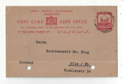 Palestine 1936 Postal Card Cover to Germany, 8f Rate