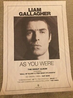 Liam Gallagher As You Were Record Company Promo Poster 20 X 28 Inches