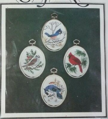 1982 Janlynn Christmas Winter Birds Ornament Crewel Embroidery Kit Set Of 4