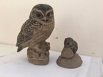 """Large 7"""" Poole Pottery Owl + Poole Doormouse Eating Strawberry"""
