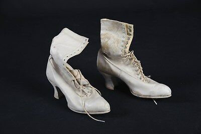 Antique Ladies / Womens Victorian High Top Leather Lace Up Boots 93/4 Tall
