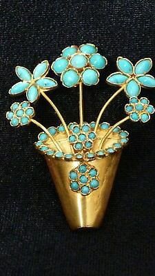 18K Yellow Gold Turquoise Vintage Pot of Flowers Pin One of a Kind Rare