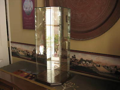 Vintage Doll Dome Display Mirrored Octagon HUGE 22 1/2 x 11