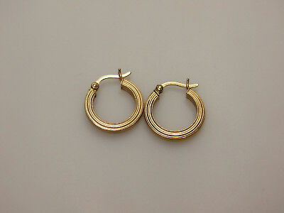 14k Yellow Gold Jewelry Small Simple Textured Hoop Earrings