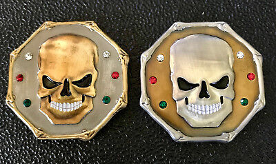 2 Wretched Skull Geocoins- Gold on Silver & Silver on Gold -New & Unativated
