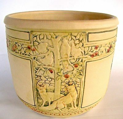"WELLER POTTERY 8 3/4"" CREANWARE FOX CHASING the HENS  JARDINIERE CIRCA 1920's"