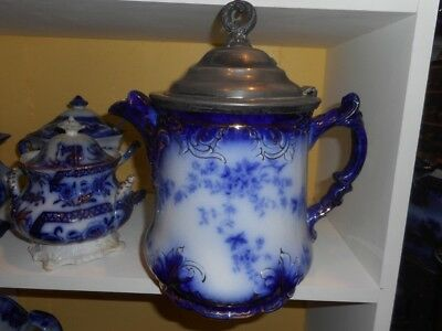 Rare Labelle flow blue water pitcher - metal lid