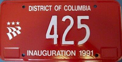 1991 WASHINGTON DC Mayor Inauguration License Plate RARE!!!