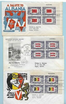 Overrun Countries inscription blocks FDC complete, cacheted, addressed #909-921