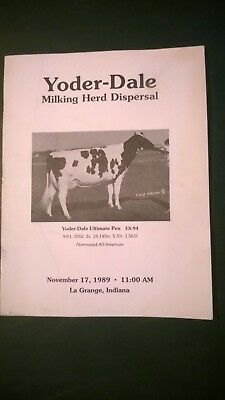 YODER-DALE FARM HOLSTEIN DISPERSAL SALE CATALOG 1989 LaGRANGE INDIANA