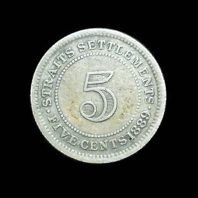 1889 Straits Settlements Silver 5 Cents - Nice