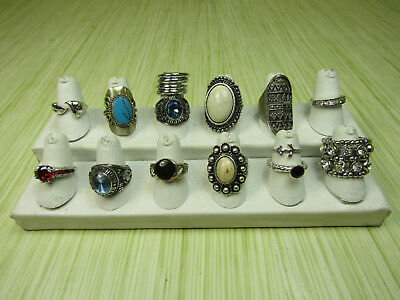 Costume Jewelry Ring Lot AS IS Statement Silver Tone Class Jostens Stones