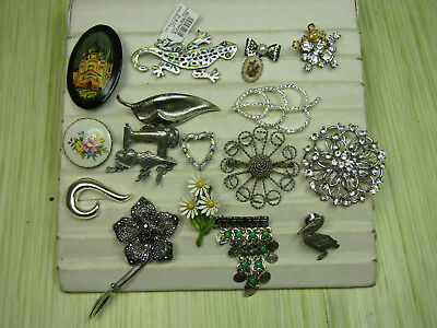 Costume Jewelry Brooch Pin Lot AS IS Silver Tone Flowers Sparkle Spoon