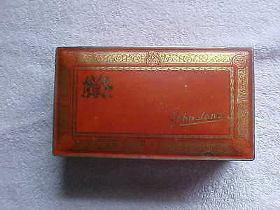 Vintage Metal Tin  Box Johnston's Chocolates Candy Candies Gold Red
