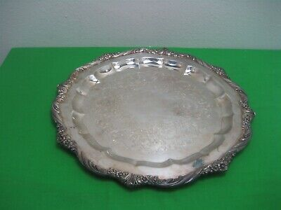 Vintage Heritage Silver Plated Roger Brothers Round Etched Meat Tray Platter