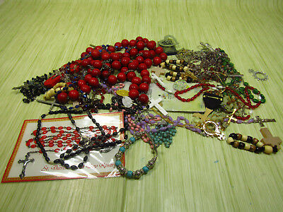 Religious Item Lot As Is Brooch Pins Necklaces Rosary Prayer Beads Saints