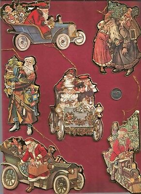 """Lot 6 Die Cut Ornaments Victorian Father Christmas 3-5"""" Two Sided"""