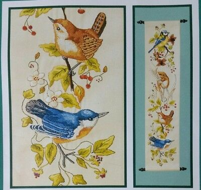 "Anchor Pe622 Wildlife Bird Floral Bell Pull Crewel Embroidery Kit 23 1/4"" X 5"""