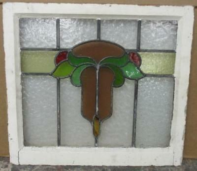"OLD ENGLISH LEADED STAINED GLASS WINDOW Awesome Floral Abstract 21.75"" x 19.5"""