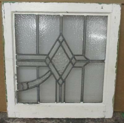"""OLD ENGLISH LEADED STAINED GLASS WINDOW Clear Diamond Geometric 20"""" x 20.75"""""""