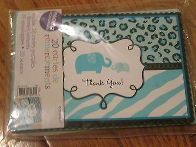 Pack of 20 Thank You Notes Baby Shower Boy Blue Elephant