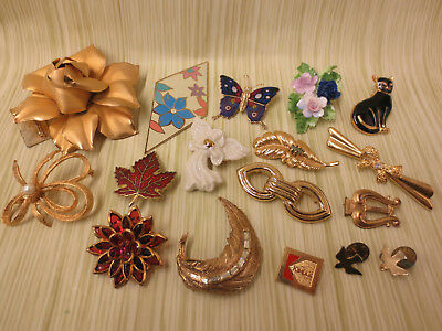 Costume Jewelry Brooch Pin Lot AS IS Gold Tone Flowers Enamel Leaf Butterfly