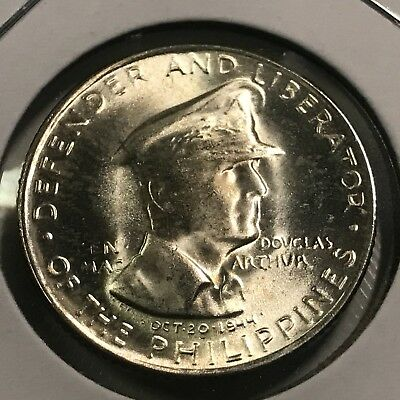 Philippines 1947-S Silver 50 Centavos Mcarthur Brilliant Uncirculated Coin
