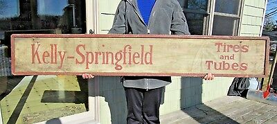 ORIGINAL c1911 - 1920's KELLY SPRINGFIELD TIRES & TUBES DOUBLE SIDED SIGN RARE