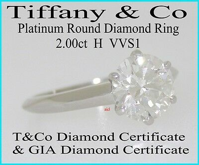 TIFFANY & CO PLAT ROUND DIAMOND SOLITAIRE RING  2.00ct  H VVS1  T&CO & GIA CERTS