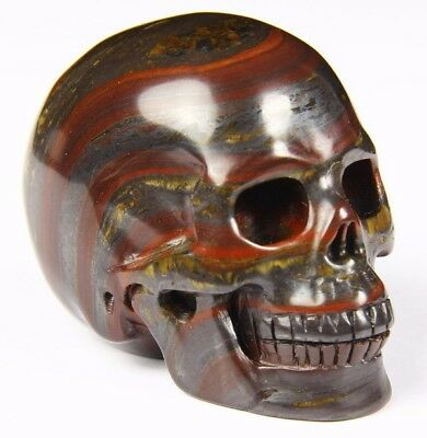 "Gemstone 2.0"" COLORFUL TIGER IRON EYE Carved Crystal Skull, Realistic, Healing"