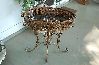 Gilt Iron Vintage Tole Roses Table Planter Italian Ornate Iron
