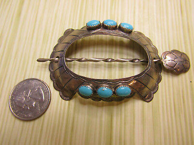 Vintage Sterling Silver Jewelry Southwestern Hair Stick Turquoise Color