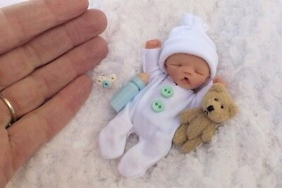 "♡ Ooak 3.5""  Jointed Full  Sculpt  * Newborn Baby Boy * MILTON* Sweet ♡"