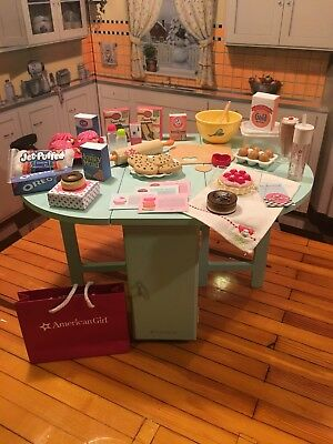 American Girl Baking Table & Accessories Bundle Retired & Rare Items - Excellent