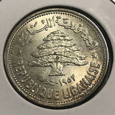 1952 Lebanon Silver 50 Piastres Brilliant Uncirculated