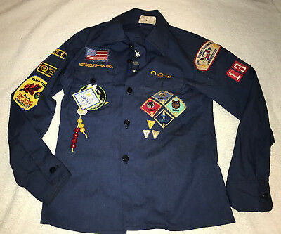 Vintage Boy Scouts of America Blue Long Sleeve Uniform Shirt w/Patches Size 12