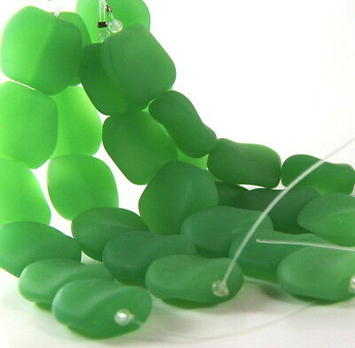 Square Nugget Pendant Beads, Opaque Spring Green w/Matte Finish, 6 Pieces